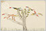 Lucian Freud 'Birds inTree' c1930 Crayon on paper 14cmx21cm
